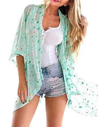 Grapent Women's 3/4 Sleeves Floral Kimono Cardigan Blouses Beachwear Cover Up Sky Blue US 10