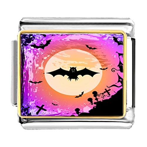 (GiftJewelryShop Gold Plated Halloween bat Fly Over Full Moon Bracelet Link Photo Italian Charms)