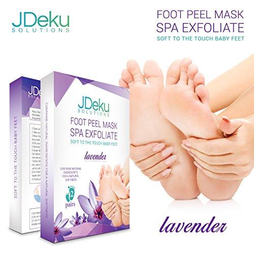 Foot Peel Mask - Exfoliating Lavender Foot Peel Mask with Hyaluronic Acid Eliminates Dead Skin, Calluses, and Odor (2 Pair)
