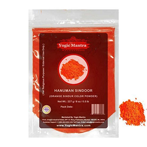 Yogic Mantra Hanuman Sindoor (227 g / 8 oz Resealable Pouch) Lord Bajrangbali Orange Sindur For Hindu Holy Spiritual Puja, Ganpati, Ganesha, Diwali Pooja Ceremony & Indian Festivals (Pooja Home Decor)