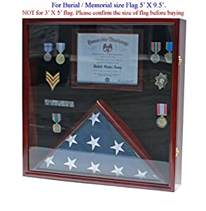 Funeral/Casket Flag Display Case Military Shadow Box Cabinet for 5'X9.5' Flag, Solid Wood, FC29-MA