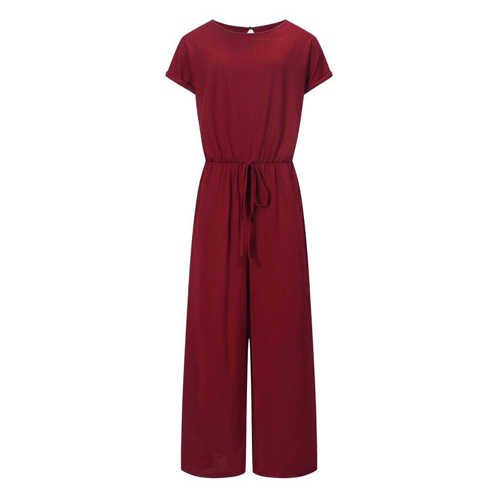 Women Casual O Neck High Waisted Wide Playsuits Beach Jumpsuit with Pockets