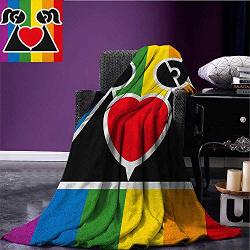 Valentines Patterned blanket Love Wins Queer Gay Couple Holding a Heart Girlfriend Romantic Happy Graphic beach blanket Multicolor size:50