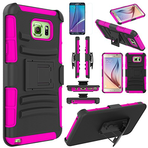 Note 5 Case, EC™ Hard Shock-Resistant Heavy Duty Armor Holster Protective Case Cover with Belt Swivel Clip + Kickstand for Samsung Galaxy Note 5 (Black/Rose)