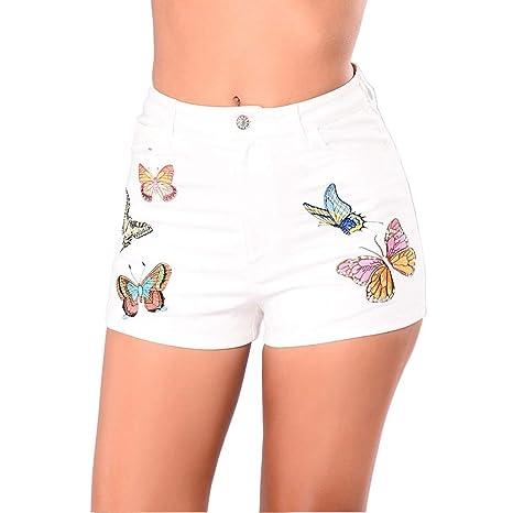 Lfives Shorts Vaqueros elásticos de Mujer Pantalones Cortos ...