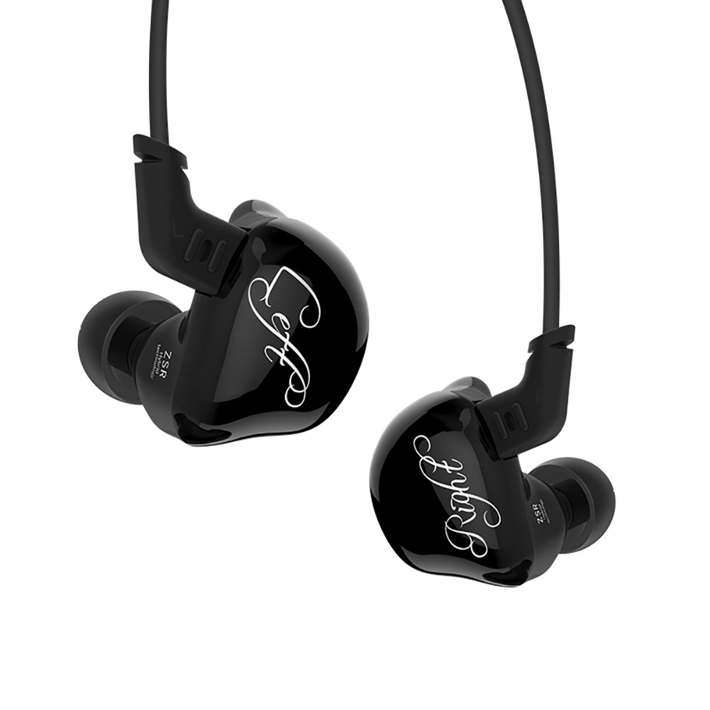 Triple Driver In-Ear Headphones, KZ ZSR High Fidelity Dynamic Hybrid Earbuds(Earphones) (Black)
