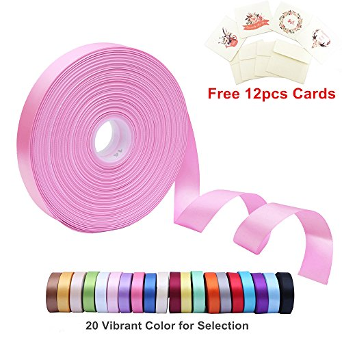 - Double Face Satin Ribbon 1 Inch Wide x 100 Yard Roll (300 FT Spool) with Free 12 Greeting Cards for Art & Sewing, Party/Wedding Favor Ribbons, Pearl Pink