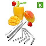 Ankooki Stainless Steel Metal Drinking Straws, Set of 6 (4 Bent - 1 Extra Long - 1 Extra Wide) + Cleaning Brush, Reusable, BPA Free, Eco Friendly, Great for Tumblers like the 20 + 30 oz Yeti Rambler