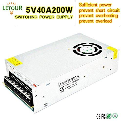 LETOUR 5V Power Supply 40A AC 110V/220V Converter DC 5Volt 200Watts Adapter LED Power Supply for LED Lighting,LED Strip,CCTV (5V 40A) 40a Dc Power Supply