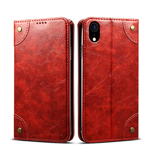 Cover Wallet Compatible with iPhone XR Apple 6.1 inch,Red Leather Case Retro Texture Kickstand Protective Durable Folio Card Holder Shell for Women Girl