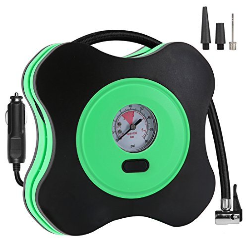 CASUCH 12V DC Portable Air Compressor Pump to 150 PSI, Electric Tire Inflator with Gauge, 3 High-air Flow Nozzles & Adaptors for Car Tires, Bicycles and Basketballs(Green)