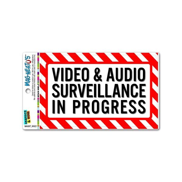 Video And Audio Surveillance In Progress   Business Sign MAG NEATO'S Automotive Car Refrigerator Locker Vinyl Magnet