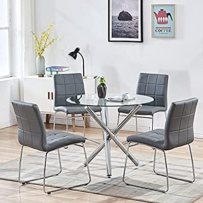 Buy Modern Dining Table Chairs Set Round Table With Clear Tempered Glass Top 4 Grey Faux Leather Dining Chairs Set For 4 Person Kitchen Dining Room Table And Chairs Set For Home 1 Table 4