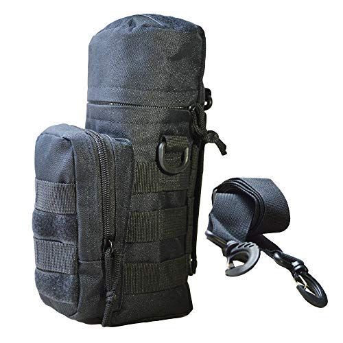 (AIFEI Water Bottle Holder Military H2O Carrier Tactical Molle Pouch Attachable Bottle Bag (Black))