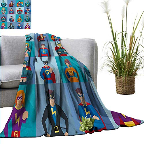 AndyTours Swaddle Blanket,Superhero,Characters with Supernatural Powers in Special Costumes Comic Strip Humor Print,Multicolor,Lightweight Extra Soft Skin Fabric,Not Allergic 60