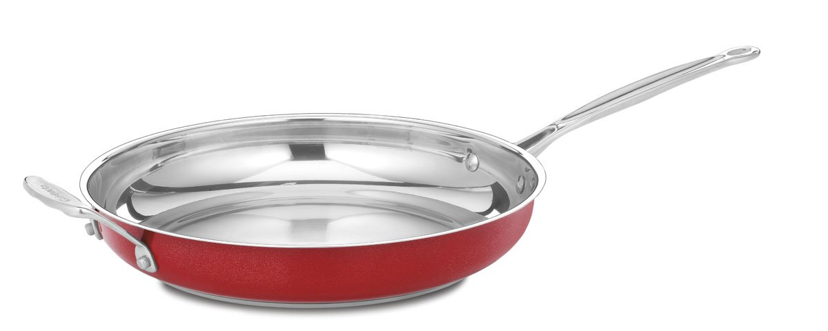 Cuisinart CS22-30HMR Chef's Classic Stainless 12-Inch Open Skillet with Helper Handle, Metallic Red