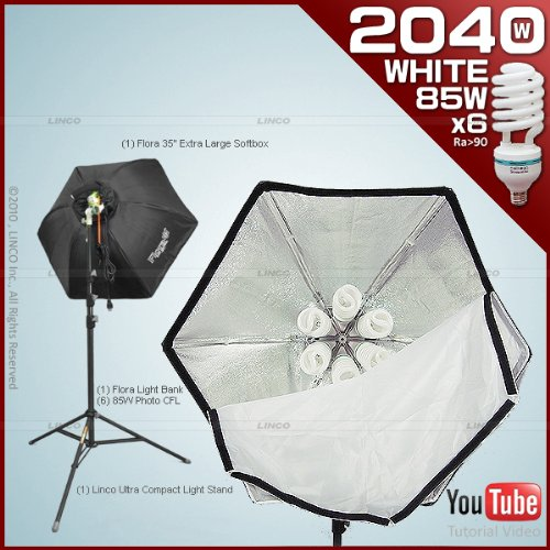 Photography Video Studio Lighting Kit with 1 Fluorescent Light Bank+1 35''Hexogen Easy Softbox+1 8308 Compact Light Stand+6 Linco 85W Softwhite Daylight Photo Energy Bulb by Linco Flora 2040FK by Linco