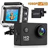 #8: Sasrl Action Camera , 12MP 1080P 2 Inch LCD Screen , Waterproof Sports Cam 120 Degree Wide Angle Lens , 30m Sport Camera DV Camcorder With 2 Rechargeable Batteries and 9 Accessory Kit (Black-1080P)