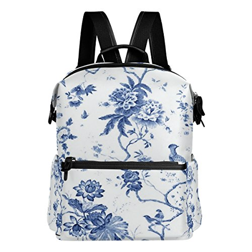 (Laptop Backpack Lightweight Waterproof Travel Backpack Double Zipper Design with Blue And White Toile Pattern School Bag Laptop Bookbag Daypack for Women Kids)