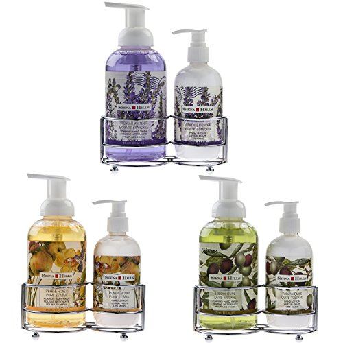 Set of 3 Sienna Hills Foaming Hand Soap and Lotion Caddy Pump Dispensers Bottles Bathroom Bundle (Hand Soap And Lotion Set)