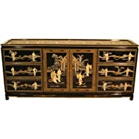 72 Shiny Black Handpainted Oriental Dresser With Mother Of Pearl Inlays and Glass Top, Two Doors and Six Felt Lined Drawers.