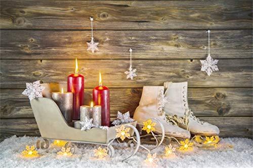 (Yeele Christmas Photography Background 10x6.5ft Skates Snow Scene Snowflake Sled Red Candle LED Yellow Light Merry Christmas Xmas Decoration Photo Backdrops Pictures Photoshoot)