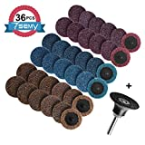36Pcs Sanding Discs Set, 2-Inch Roloc Quick Change Discs with 1/4 inch Holder, Surface Conditioning Discs for Die Grinder Surface Prep Strip Grind Polish Burr Finish Rust Paint Removal