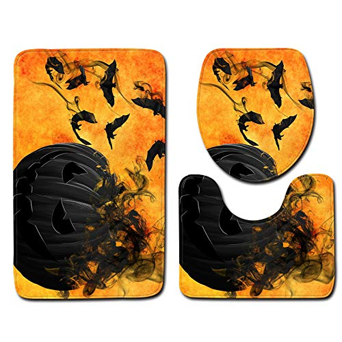 Halloween Decor Clearance KIKOY Ghosts Toilet Seat Cover and Rug Bathroom Set 3Pcs]()