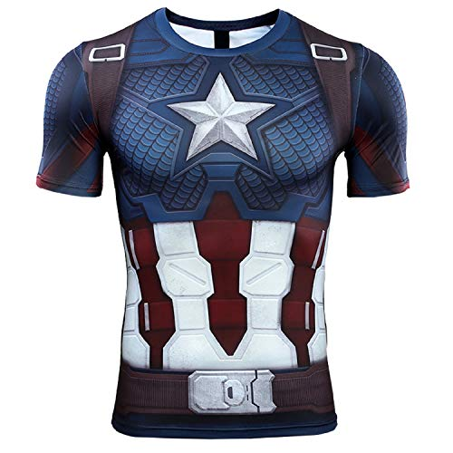 Short Sleeve 3D Print T-Shirt for Men's Captain America Compression Shirt (Large, Blue)