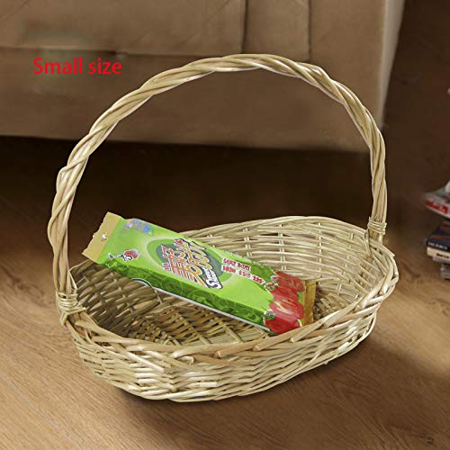 High-Capacity Fruit Gift Wicker Storage Portable Picnic Egg Basket Garden Packing Bags Plus Garland C BeigeS
