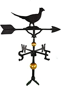 Montague Metal Products 32-Inch Deluxe Weathervane with Satin Black Pheasant Ornament