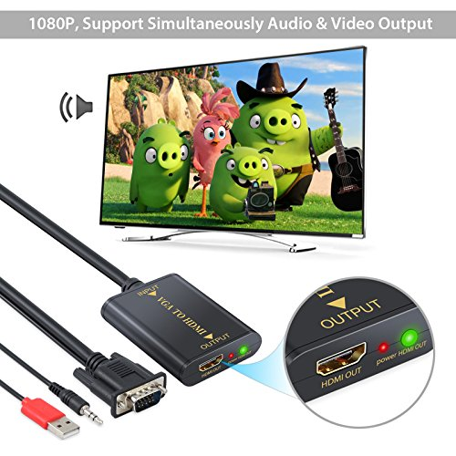 Neoteck VGA to HDMI Adapter Converter with USB Audio Analogue to Digital Audio Video Cable 1080P VGA to HDMI HD Video Output for Desktop Laptop Notebook PC HDTV HD TV-Box Monitor Projector
