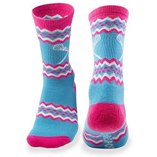 Athletic Half Cushioned Crew Socks | Aztec Girls Lacrosse Design | Neon Blue