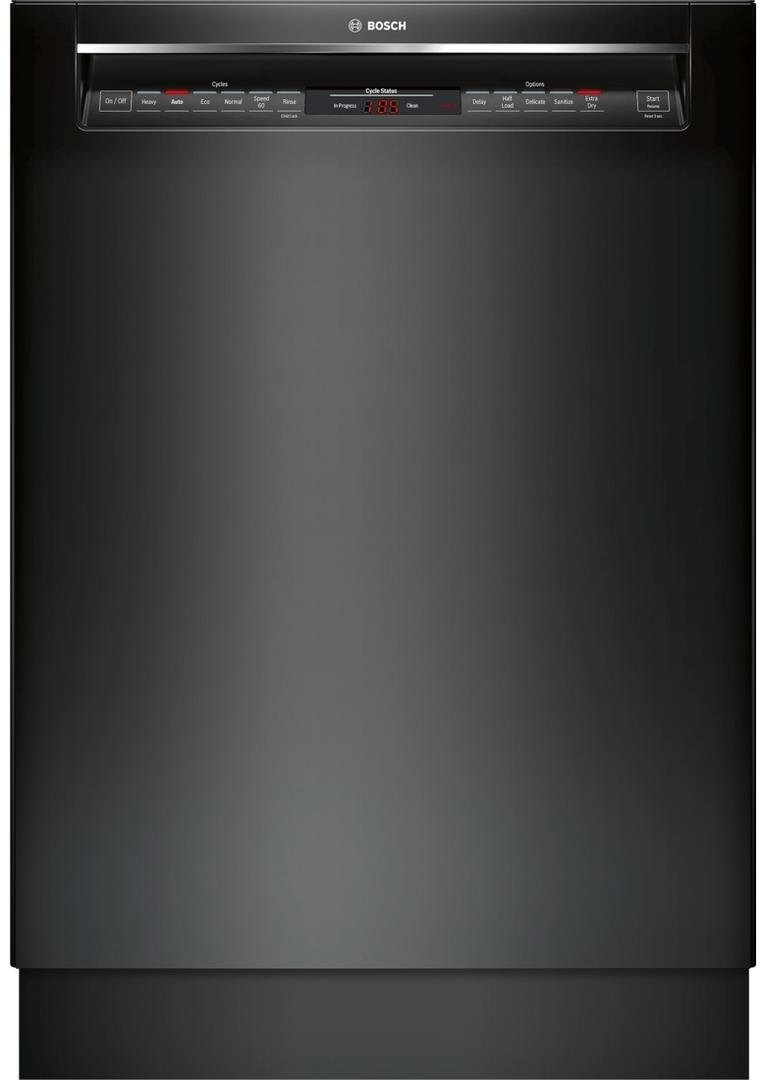Bosch 800 Series 24 Inch Built In Full Console Dishwasher with 6 Wash Cycles, in Black