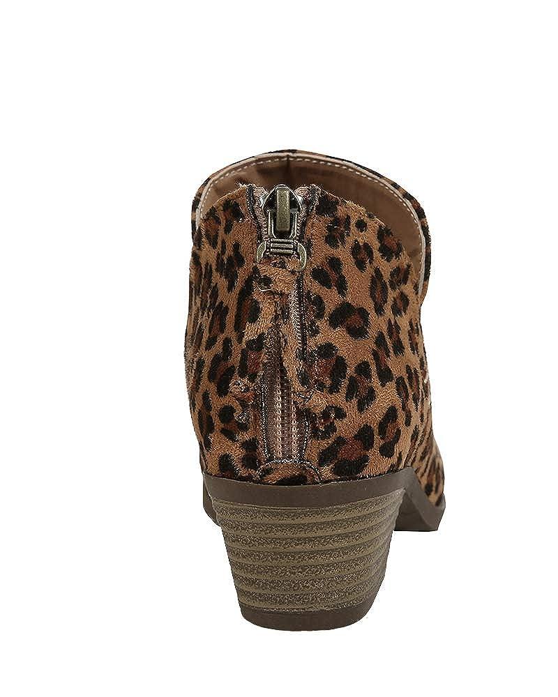 Huiyuzhi Womens Laser Cutout Low Stacked Heels Ankle Booties Zipper Cowboy Boots