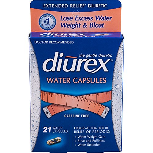 Diurex-Extended Relief Water Capsules-21 Capsules-Long-Lasting Relief of Water Weight Gain, Bloating & Fatigue Related to Menstruation Without the Caffeine