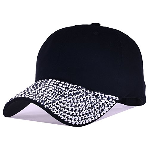 Deer Mum Lady Studded Rhinestone Crystals Adjustable Baseball Cap (Rhinestone Baseball Hat Black)