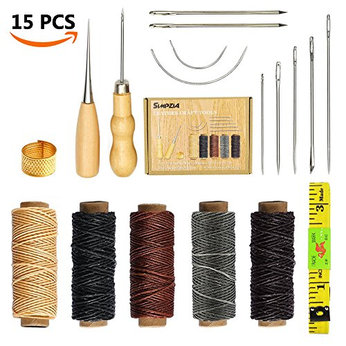 SIMPZIA 15 Pieces Leather Craft Tools with Hand Sewing Needles Drilling Awl Waxed Thread and Thimble for Leather Upholstery Carpet Canvas DIY - Shape Head Pointed