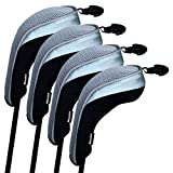 Andux Golf Hybrid Club Head Covers Set of 4 Interchangeable No. Tag