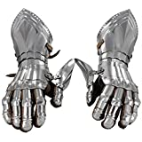 Medieval Knight's Polished Steel Articulated Gauntlets With Leather Gloves