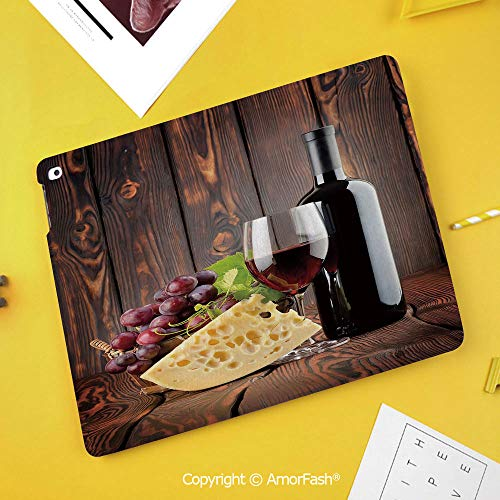 Case for SamsungGalaxy Tab S4 2018 10.5 T830 T835 SM-T835 Protective,Wine,Red Wine Cabernet Bottle and Glass Cheese and Grapes on Wood Planks Print Decorative,Brown Burdy Cream