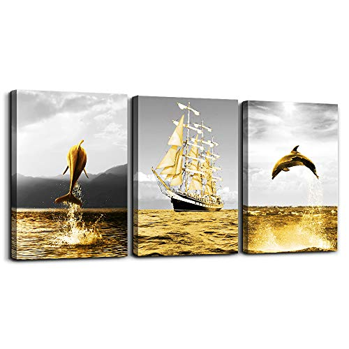 Wall Art for living room bathroom wall decorations for bedroom kitchen artwork Canvas Prints 12x16 inch/piece, 3 Panels Home bathroom Wall decor posters golden ocean fish and the sailboats painting (Bathroom Walls For Decoration)