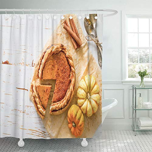 Emvency Fabric Shower Curtain Curtains with Hooks Orange Food Pumpkin Pie White Wood Top View Thanksgiving Squash Autumn Baked Cream Crust Delicious 72