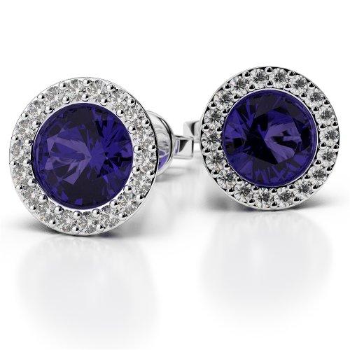 G-H/VS 0,26CT sertie de diamants ronds Forme tanzanite et boucles d'oreilles en platine Ager-1075