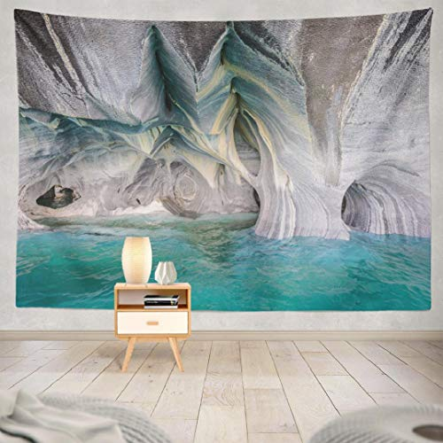 Wbluck Nature Landscape Tapestry, Wall Hanging Tapestry, Marble Lake Nature Landscape Water Cave Psychedelic Tapestry Wall Decor for Room Decoration 60 L x 80 W Marble Lake Nature