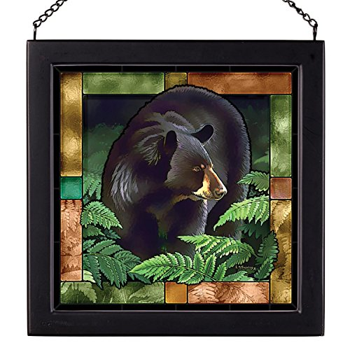 (Woodland Black Bear Stained Glass)