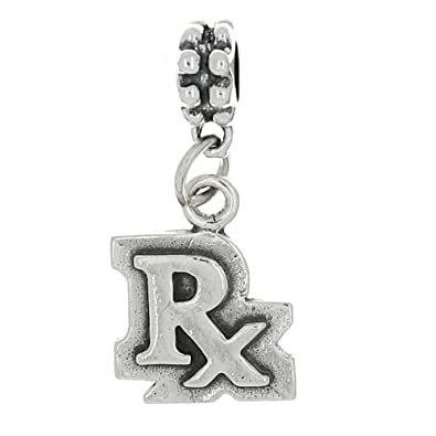 829ef82dbdc8a Sterling Silver Oxidized Pharmacist Rx Symbol Dangle Bead Charm