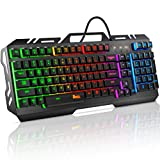 Gaming Keyboard, RATEL Colorful Rainbow LED Backlit USB Wired Keyboard with Spill-Resistant Design for Desktop, Computer