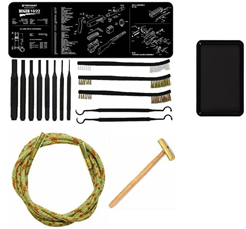 Otis Ripcord for .22Cal .22 Cal Bore Cleaner + Ultimate Arms Gear Gunsmith Cleaning Gun Mat Ruger 10/22 10-22 10 22 Rifle + Punch Tool Set Kit + Hammer + Brushes & Picks Tools + Magnetic Parts Tray (Ruger 10 22 Threaded Barrel)