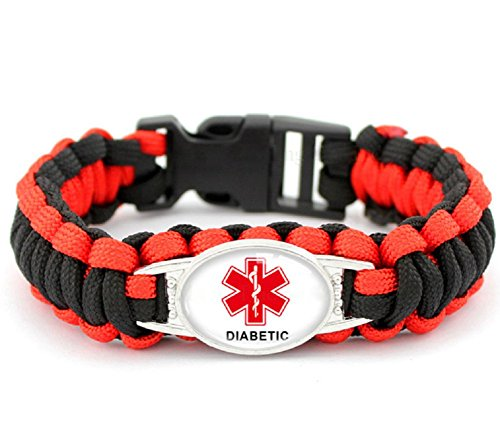 Diabetic Awareness Medial Alert Paracord Bracelet, 8.5 Inch (Style B)